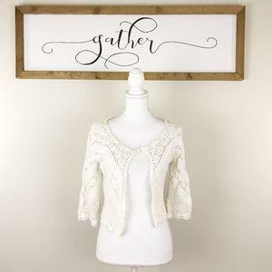 Cabi White Overlay Knit  Sweater